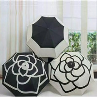 Wholesale fabric uv protection - DHL 2018 Luxury Camellia Flower Umbrella Women 3 -Fold UV Shade Protection Sunny And Rainy Umbrella Birthday Gifts HH7-374