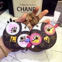 mini pintinho venda por atacado-Bonito Coruja Real Fur Chick Charme Couro Mini Coin Cards Chaves Titular Bolsa Com Zíper Saco De Bolso