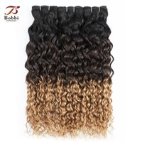 28 parça saç örgüsü toptan satış-8A Brezilyalı Ombre sarışın Su Dalga Saç Örgü Demetleri 1B / 4/27 Üç Ton 12-24 inç 3/4 Parça Remy İnsan Saç Uzantıları