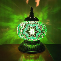 Wholesale stone glass mosaic - 18CM Newest E14 Hand-inlaid glass mosaic bedroom living room decorative Night Lamps of Mediterranean style Turkish Lamps
