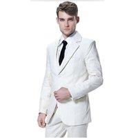 melhores vestidos de baile branco venda por atacado-Feito sob medida dos homens ternos homens brancos smoking de casamento terno moda bonito noivo melhor homem vestido de baile ternos (jaqueta + colete + calças)