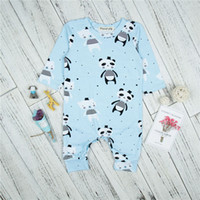 Wholesale baby clothes panda resale online - Newborn Clothes Spring Autumn Baby Boys Girls Long Sleeve Rompers Infant Panda Printing Jumpsuit For Kids Boys Clothes Outfits Infant