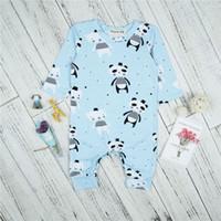 bebek panda giysileri toptan satış-Yenidoğan Giysileri 2018 İlkbahar Sonbahar Bebek Erkek Kız Uzun Kollu Tulum Bebek Panda Çocuk Erkek Giysileri Kıyafetler Bebek Için Baskı Tulum