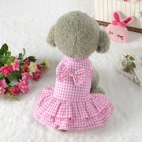 Wholesale new puppy skirts for sale - Refined Summer Dog Plaid Dress Lattice Style Dress Outfit For Small Dogs Medium Cute Pet Clothing Puppy Skirt Dog Clothes
