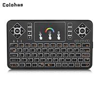 android computer für tv großhandel-Mini Tastatur 2,4 GHz Wireless QWERTY Tastatur Luft Maus Combo Bunte Hintergrundbeleuchtete Smart Touchpad für Computer Android TV Box HTPC