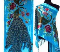 ingrosso pashminas blu-Novità blu femminile 100% seta velluto capo ricamo in rilievo pashmina stola silenziatore stile cinese 176 x 68cm PM008