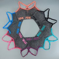 Wholesale tank top underwear women - Love Pink Bras Women Yoga Running Vest Pink Letter Gym Shirts Push Up Fitness Bra Elastic Crop Tops Outdoor Sexy Underwear