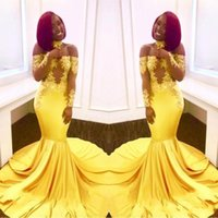 Wholesale african art for sale - New Elegant Yellow Off Shoulder Lace Prom Dresses Long Sleeves Mermaid Appliques African Black Girl Satin Arabic Formal Evening Gowns
