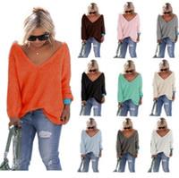 couleur mélangée t shirts achat en gros de-Pulls à col en V de couleur unie Chandail Tops filles femmes automne Tricots Pulls décontractés en vrac Pull à manches longues