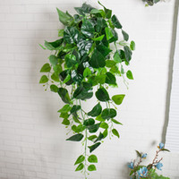 folhas verdes de plástico venda por atacado-Decoração da parede artificial Folhagem Planta Ivy Folha De Plástico Garland Videira artificial flores Falso Folhagem parede Pendurado látex verde plantas Videira