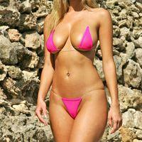 micro-tangas strand großhandel-Seamless Invisible Mini Micro Bikinis Set Frauen Sexy Badeanzug Brasilianische Badebekleidung Badeanzug Strand Biquinis Top + Thongs Strings