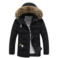 kürklü kürk kapüşonlu toptan satış-Erkekler Kaşmir Palto Ince Ceketler Artı Boyutu Moda Lüks Kış Pamuk Ceket Kalın Sıcak Dış Giyim Parka Kapşonlu Kürk Yaka Ceket