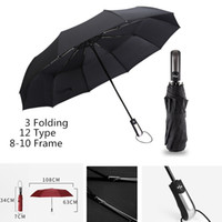Wholesale umbrella frames - BEST QUALITY Fully Automatic Umbrella Auto Open Parachut Pongee Strong Frame 3 Three Folding Windproof Umbrellas Ribs non reversed inverted