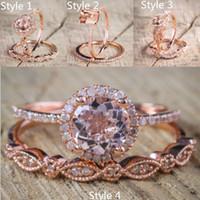 anillo de bodas de morganita al por mayor-2 unids / set 2018 deslumbrante nuevo Milgrain Vintage Morganite y diamante 18 K oro rosa lleno anillo de compromiso para las mujeres nupcial conjunto de anillo de boda