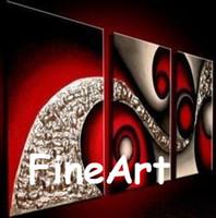kanvas yağlıboya siyah kırmızı toptan satış-El-boyalı petrol duvar modern sanat siyah ve kırmızı yağlıboya ev dekor 3 parça tuval sanat setleri benzersiz hediyeler Kungfu Sanat