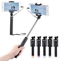 selbststichhalter großhandel-Luxus Wired Selfie Stick Erweiterbar Handheld Einbeinstativ Falten Selbstporträt Halter für IPhone 5 S 6 6 S 7 Plus Selfi Stik MOQ: 50 STÜCKE
