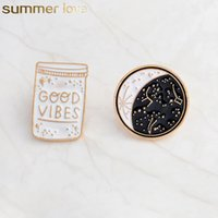 Wholesale good brooches for sale - Group buy Good Vibes Enamel Pin Constellation Day And Night Moon Brooch Pins Button Denim Jacket Coat Collar Pin Badge Jewelry Gift