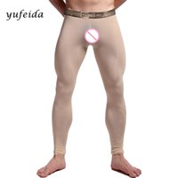 Wholesale Ice Man Costume - Sexy Men Long Johns Tights Costume Trousers Muscle Tight Long Pants Clubwear Pants Leather Shinning Ice Silky Leggings