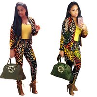 Wholesale Slim Suit Small - Fashion Women printing two-piece pants long sleeve jacket+ straight pants sexy Small suits nightclubs casual women Tracksuits suit