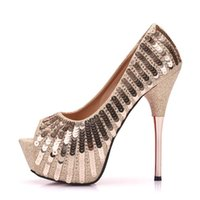 e0000cdd114c1 Bling Bling or paillettes embellies à talons hauts chaussures peep toe plate -forme pompes femmes robe de soirée chaussures sandales talons