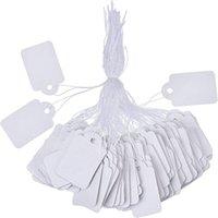 string preis etikett papier preisschilder großhandel-SF 100 teile / los blank Weiß Preisschilder papier Kennzeichnung Tags Schmuck Kleidung Preisschilder produkte Display Tags mit Hängende String 1,2 * 2,5 cm
