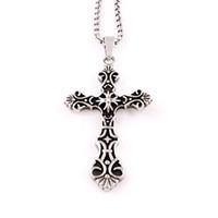 cruzes religiosas de titânio venda por atacado-Titanium aço jesus cruz colar pingente amuleto de cristo de aço inoxidável cruz dos homens colar de jóias religiosas