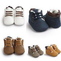 chaussures de sport d'hiver pour filles achat en gros de-INS Bébés Garçons Filles Chaussures D'hiver À Lacets Bottines Infant Enfants Enfants Casual Premier Walker Réchauffeur SnowBoots Toddler Chaussures
