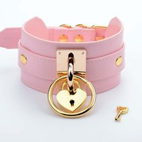 Wholesale metal slave collars - Handmade Oversize Tall High Choker Lockable Padlock Key BDSM Collar Pink Golden Metal Necklace Bondage Slave Collar Gothic
