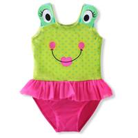 mädchen bikini muster großhandel-Sommer-nette kleine Frosch-Muster-Baby-Badebekleidungs-Baby-Badebekleidungs-einteiliger Anzug schwimmen Monokini-Mädchen-Badeanzug-Kleid-Bikini 2-9Y