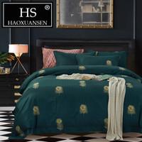 ingrosso set letto comodino set da letto regina verde-Lenzuolo copriletto verde HS Lenzuolo copriletto in piume di pavone Set di biancheria da letto matrimoniale di grandi dimensioni