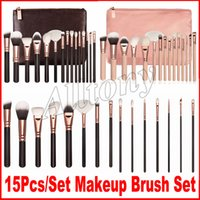 Wholesale Make Up Bag Sets - Brand Makeup Brush 15pcs set face Brushes Kit Powder Brush Kit Blush Brush Eye shadow make up brushes with bag