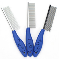 Wholesale sport dog supplies online - Lovely Footprint Pet Cosmetology Comb Portable Stainless Steel Dog Cat Supplies Grooming Combing Articles Antiskid Handle dg Ww