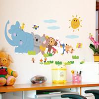 Wholesale Elephant Vinyl - Elephant Monkey Animals For Kids Room Cartoon Wall Stickers PVC Removable Nursery House Decor