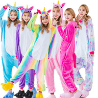 pyjama unisexe achat en gros de-Unisexe Adulte Hiver Licorne Pyjamas 2017 Animal Pyjama Ensembles Sexy À Capuche Homewear Flanelle De Nuit Pyjama Mignon De Dessin Animé