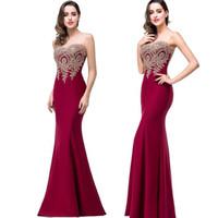 venta de vestidos de maternidad formal al por mayor-2018 Sheer atractivo del diseñador sin mangas de cuello de la sirena de los vestidos de noche Appliqued cordón largo de baile alfombra roja vestido barato de la dama de honor