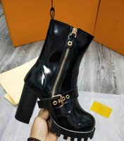 Wholesale Short Black High Heel Boots - 8019Side zipper ultra-high with Martin boots female short tube thick with female boots waterproof thick bottom winter in Europe and the shor