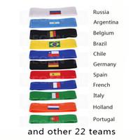 banderas de países calientes al por mayor-2018 Copa del Mundo de Rusia banda para el cabello bandera del país logotipo diadema de fútbol Aficionados al fútbol recuerdo sudadera Yoga Banda para el cabello Deporte fitness Vendas calientes