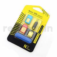 nano tray 4s großhandel-Neue 5-in-1-Metall-Nano-SIM-Karte / Micro-SIM-Karte / Standard-SIM-Konverter-Adapter Adapter für iPhone 6/5 / 4S / 4-Zelle mit Eject Pin mit Einzelhandel