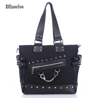 Wholesale Rock Punk Style Bags - DIINOVIVO Rock Style Rivet Handbag Fashion Women Punk Casual Tote Zipper Chain Female Motorcycle Shoulder Crossbody Bag WHDV0207