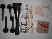 ingrosso ebano nero stringa-1 Set Black Ebony Cello di raccordo Tail Pegs 2 Pcs Sound Post 4 String Adjuster 1 Maple Bridge Nylon Tail Gut 4/4