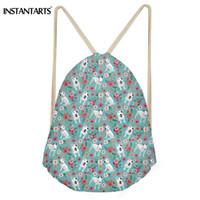 INSTANTARTS Cute Dog Bull Terrier Floral Print Backpack Mini Drawstring Bag  for Women Men Teen Girl Boy School Bag Child Bagpack d9e10c6595584