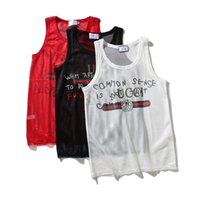 Wholesale mens vest t shirts - 2018 new style men's Clothing fishnet breathable mens vest slim fit t-shirt fashion short sleeve tshirts collar designer t shirts g24