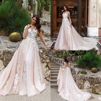 Wholesale pink classy long gowns resale online - Classy Long Sleeve Wedding Dresses Sheer V Neck Lace Appliqued Country Bridal Gowns Plus Size Custom Made Wedding Dresses