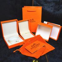 anillo de papel joyero al por mayor-Venta caliente famosa marca Naranja Cajas de joyería conjunto collar pulsera Anillos cajas con bolsas de papel y certificado de regalo de embalaje cajas de neckalace