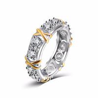 anel prata x venda por atacado-Duas cores Clássico Cristal Branco Pavimentar Mulher Anéis de cor Prata Moda Jóias de Casamento Cruz X Forma Anel para As Mulheres Melhor Presente