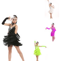ropa de baile de disfraces al por mayor-Nuevos Niños Tassel Latin Ballroom Dance Dress Niños Niñas Dancewear Fringe Skirts Latin Stage Dance Costume Clothing 4 color