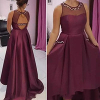 Wholesale high low white wedding dress online - 2018 Burgundy High Low Bridesmaid Dresses For Wedding Sheer Neck Backless Maid Of Honor Gowns Sequins Beaded Formal Party Dress Custom Made