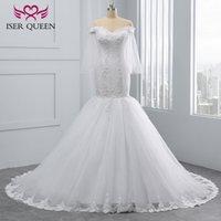 Wholesale trumpet flare wedding dress - Quality African Mermaid Wedding Dresses 2018 Luxury Crystal beading Flare Sleeve Lace Embroidery Pure white Elegant Wedding Dress WX0097