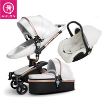 baby stroller pu leather can sit and lie four seasons winter Russia free shipping
