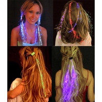 Wholesale flash extensions - LED Hair Extension Flash Braid Party Girl Hair Glow By Fiber Optic for Party Christmas Halloween Night Lights Accessories